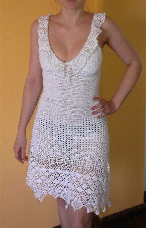 Handmade Crochet Clothing - white crocheted summer dress as seen on aniston