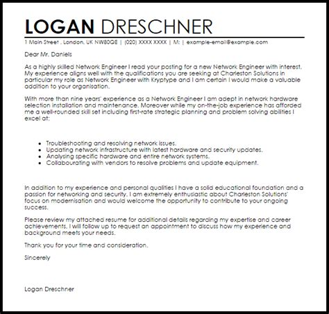 Recommendation Letter Network Engineer Network Engineer Cover Letter Sle Livecareer