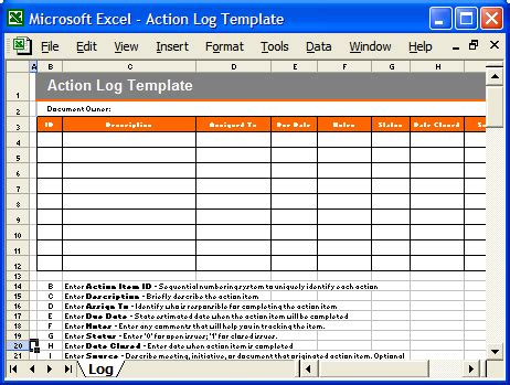 37 action log template excel best photos of action items
