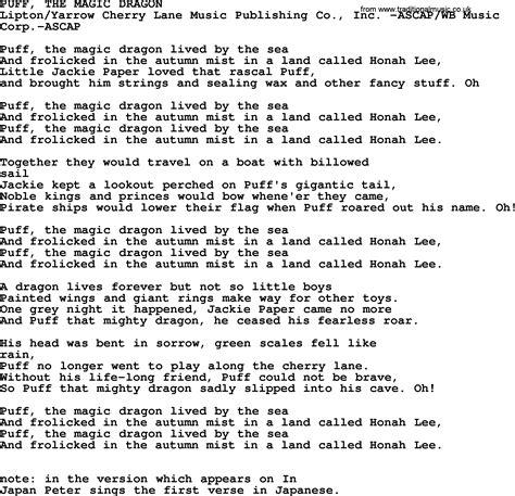 printable lyrics for puff the magic dragon ukulele tabs puff the magic dragon 187 music sheets chords
