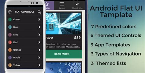 Android Templates For Sale | android flat ui template mobile codecanyon