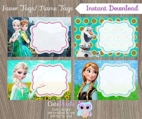 Frozen Fever Note Book frozen fever favor tags frozen name tags frozen favor