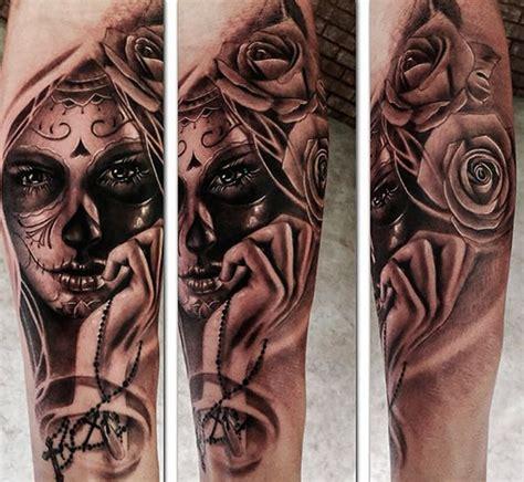 tattoos black and grey chicano catrina chicano tattoo realism girl berlin leonardo art