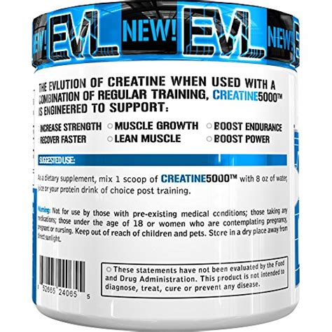 creatine 5 grams evlution nutrition creatine5000 5 grams of creatine
