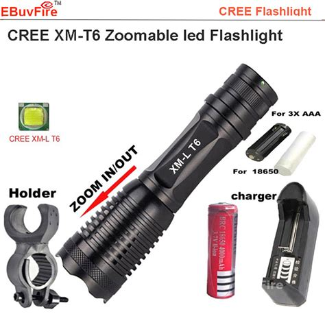 Senter Swat Cree T6 Higlght Tourch 1 Baterai cree xm l2 t6 2000lm tactical cree 18650 led torch zoom able led aaa flashlight aluminum torch 1
