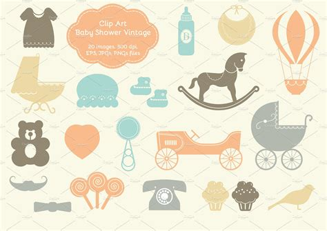 Vintage Baby Shower by 20 Baby Shower Vintage Elements Illustrations Creative