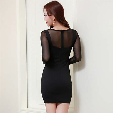 Sleeve Mesh Dress black mesh sleeve bodycon dress