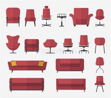 design icon sofa flat design icon set of chair and sofa in marsala color