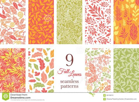 z pattern in graphic design vector fall leaves nine set seamless patterns stock vector