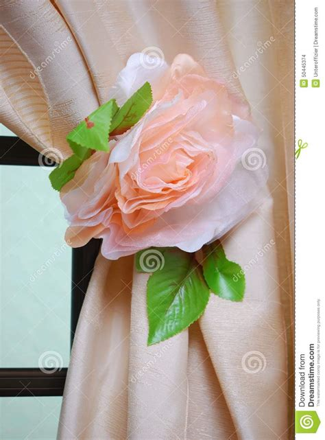 Flower curtain tie back stock photo image of decor hang 50445374