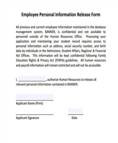 release of information forms sle employee release forms 8 free documents in word pdf