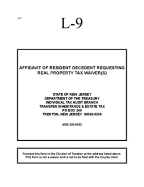 Gift Inheritance Letter Form It L 9 Resident Decedent Affidavit Requesting Real
