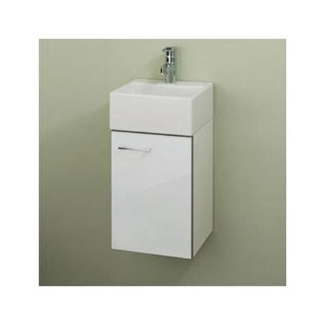 Rak Mini rak mini wall hung cabinet with ceramic basin glossy white at plumbing uk