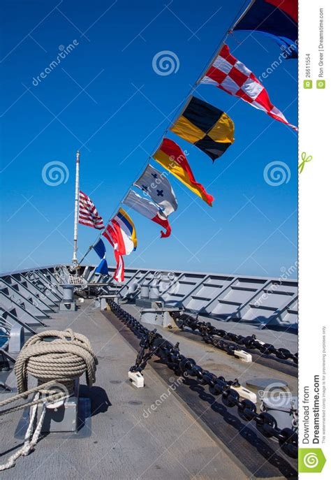 boat communication flags navy ship bow with nautical flags stock images image
