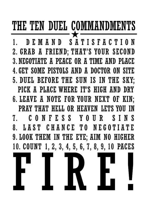 The ten duel commandments