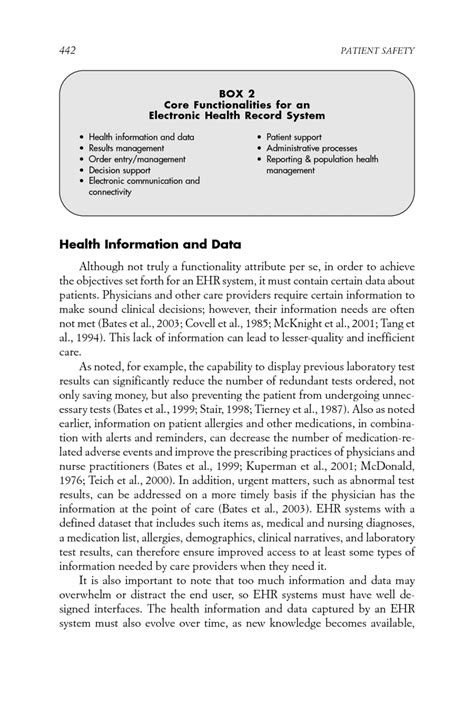 Patient Safety Letter Appendix E Key Capabilities Of An Electronic Health Record System Letter Report Patient