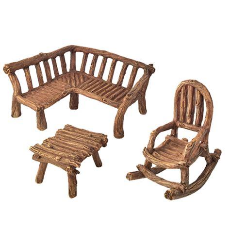 miniature fairy garden rustic mini furniture 3 piece for