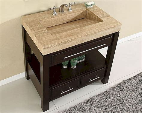 One Vanity Top And Sink by Silkroad 36 Quot Single Sink Cabinet Travertine Vanity Top Sink