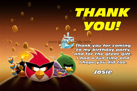 printable thank you card angry birds angry birds birthday invitations classic and space