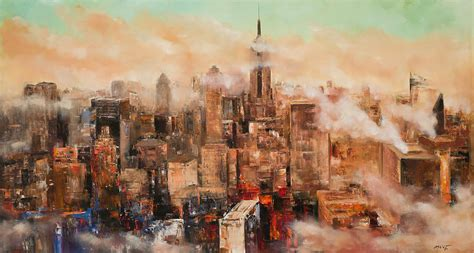 new york through the new york city through the clouds painting by manit