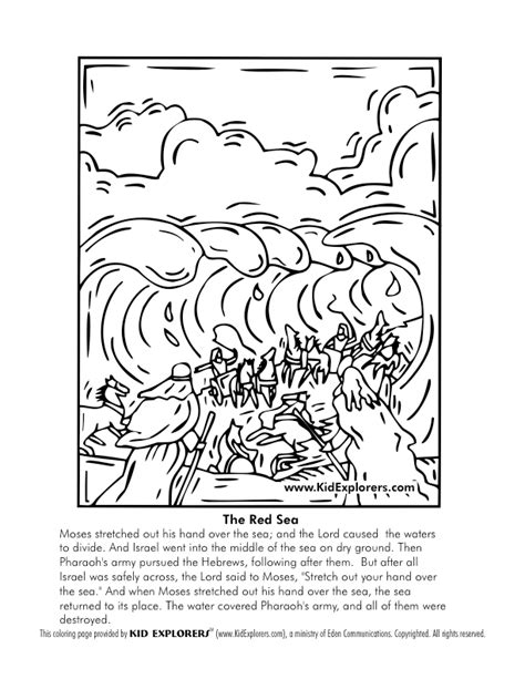 crossing the red sea coloring page coloring home