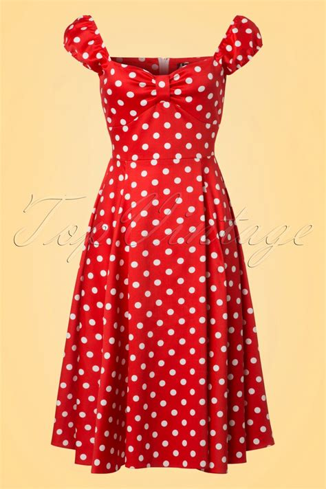 Baju Retro Polkadot 50s spotty polkadot swing dress in