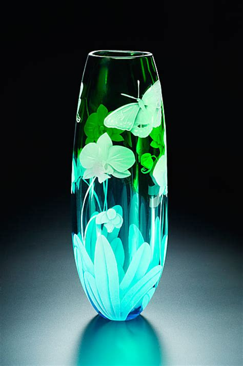 Butterfly Glass Vase by Orchid And Butterfly Glass Vase By Cynthia Myers