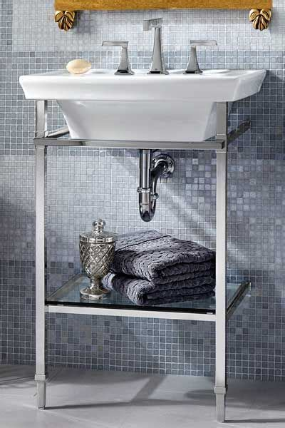 console sink with shelf glass shelves polished chrome and sinks on