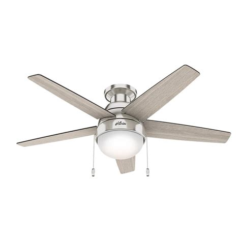 hunter ceiling fans home depot hunter parmer 46 in led indoor brushed nickel ceiling fan