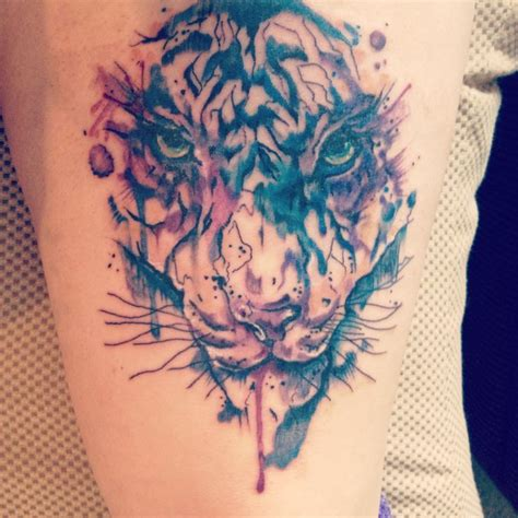 watercolor tattoos tiger watercolor tiger thigh