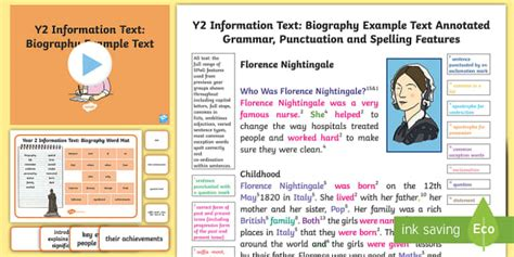 biography text for ks2 y2 information texts biography model exle text exle