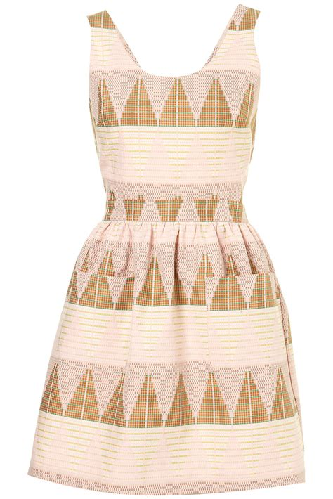 Topshop Pinafore Dress by Lyst Topshop Pastel Texture Pinafore Dress In Pink