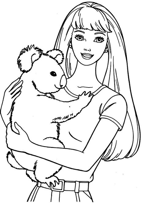 barbie koala coloring page photos cartoon image sketch barbie doll drawing art