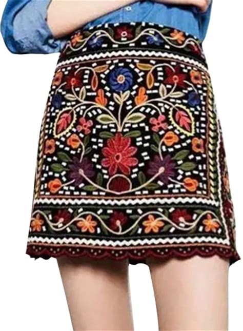 flower patterned mini skirt casual zip floral embroidered a line mini skirt oasap com