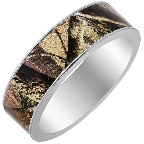 mens camouflage wedding band in titanium 7mm