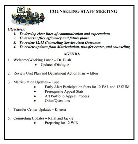 staff meeting agenda template staff meeting agenda 7 free sles exles format