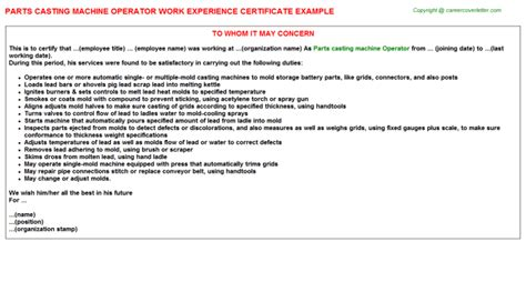 Work Experience Certificate Part Time bakery part time work experience letters sles work experience certificates