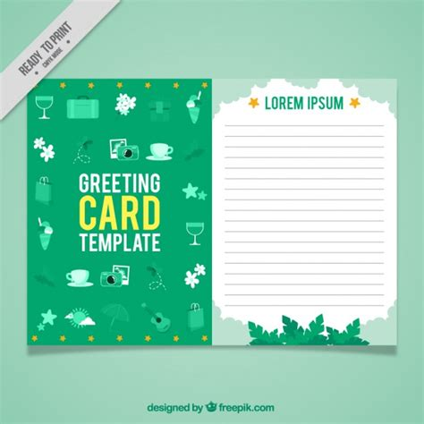 green greeting card template vector free download