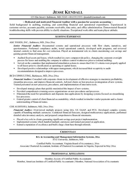 Auditor Resume Objective by Exle Financial Auditor Resume Free Sle
