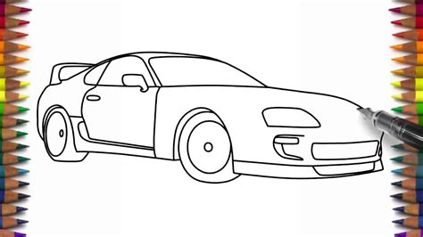 toyota supra drawing how to draw toyota supra easy car drawing