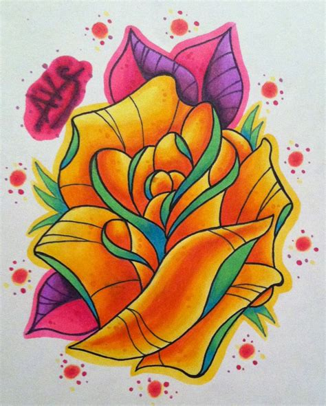 new school rose tattoo design by paintball0531 on deviantart