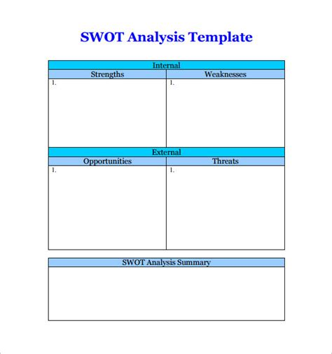 swot template pdf swot analysis templates 14 documents in pdf word