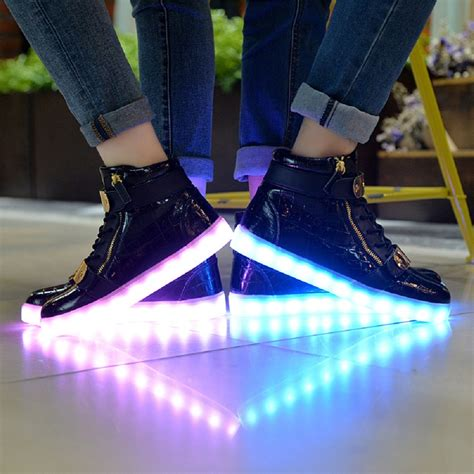 womens light up sandals greatjoy led shoes double velcro high top light up