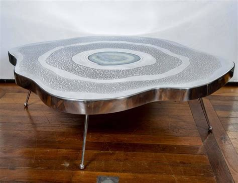 free shape aluminium and agate coffee table for sale at
