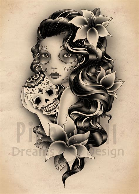 sugar skull woman tattoo designs custom designs pipedolls