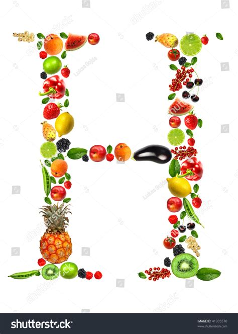 h vegetables or fruit fruit and vegetable letter h stock photo 41935570