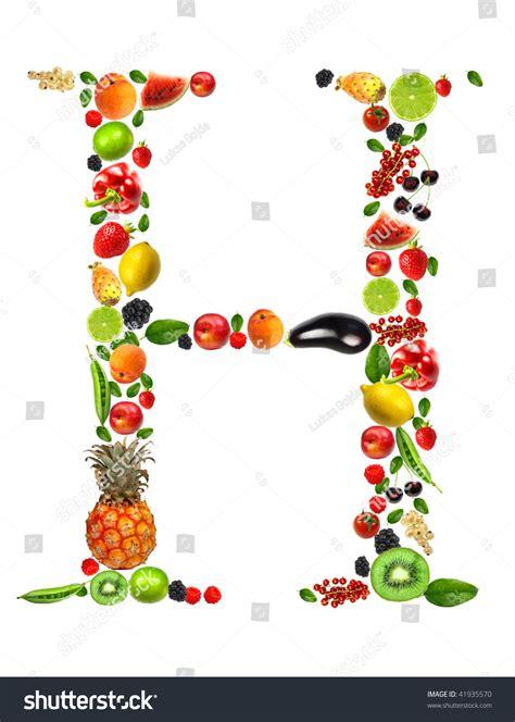 h letter fruit fruit and vegetable letter h stock photo 41935570