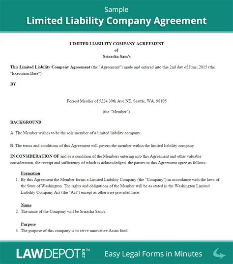 Llc Operating Agreement Template Us Lawdepot Llc Member Loan Agreement Template