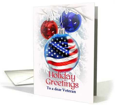 holiday   veteran merry christmas  retired military card