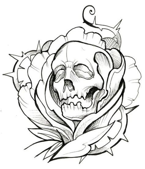 skull tattoo outline designs skull thorns ink outline
